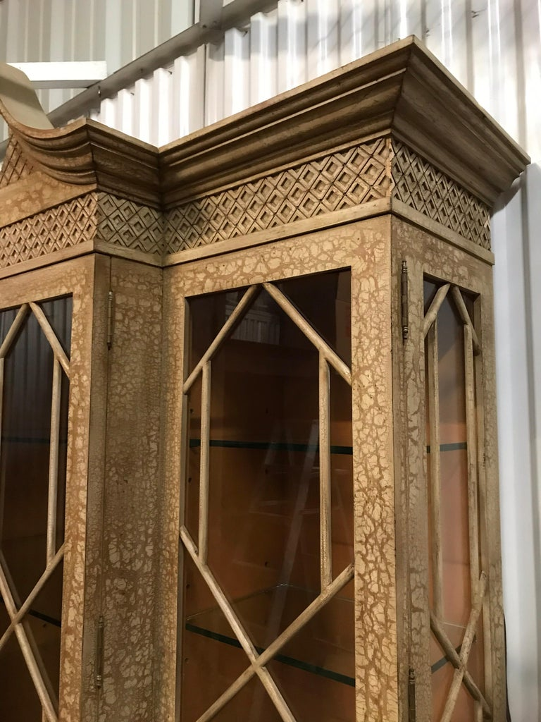 Wood Pagoda Style Cabinet by Trouvailles For Sale