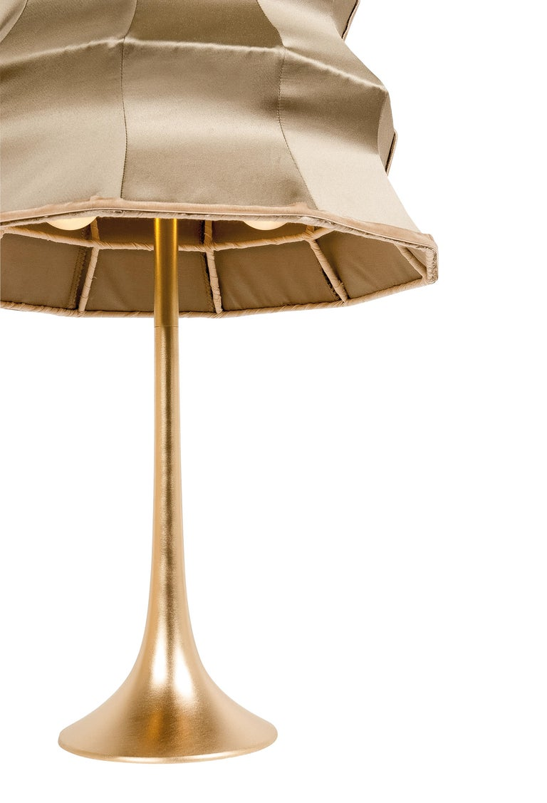 """Modern """"Pagoda"""" contemporary Table Lamp, gold silk, Silvered Crystal Tip, brass     For Sale"""