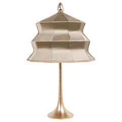 """Pagoda"" Table Lamp, Cast Brass and Gold Silk, Silver Crystal Tip, Handmade"