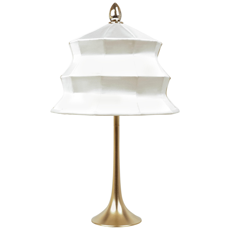 """Pagoda"" contemporary Table Lamp, satin silk, Silvered Crystal Tip, brass"