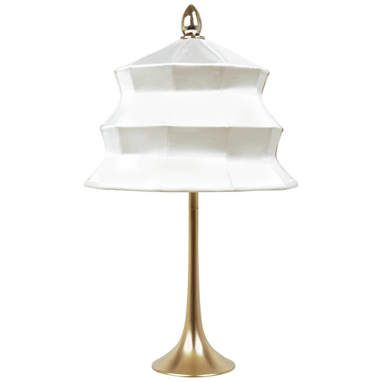 """Pagoda"" contemporary Table Lamp, satin silk, Silvered Crystal Tip, brass     For Sale"