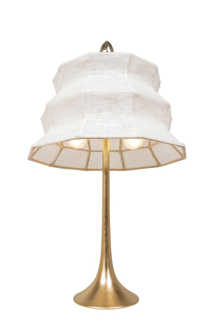 """Modern """"Pagoda"""" contemporary Table Lamp, White Linen, Silvered Crystal Tip, brass   For Sale"""