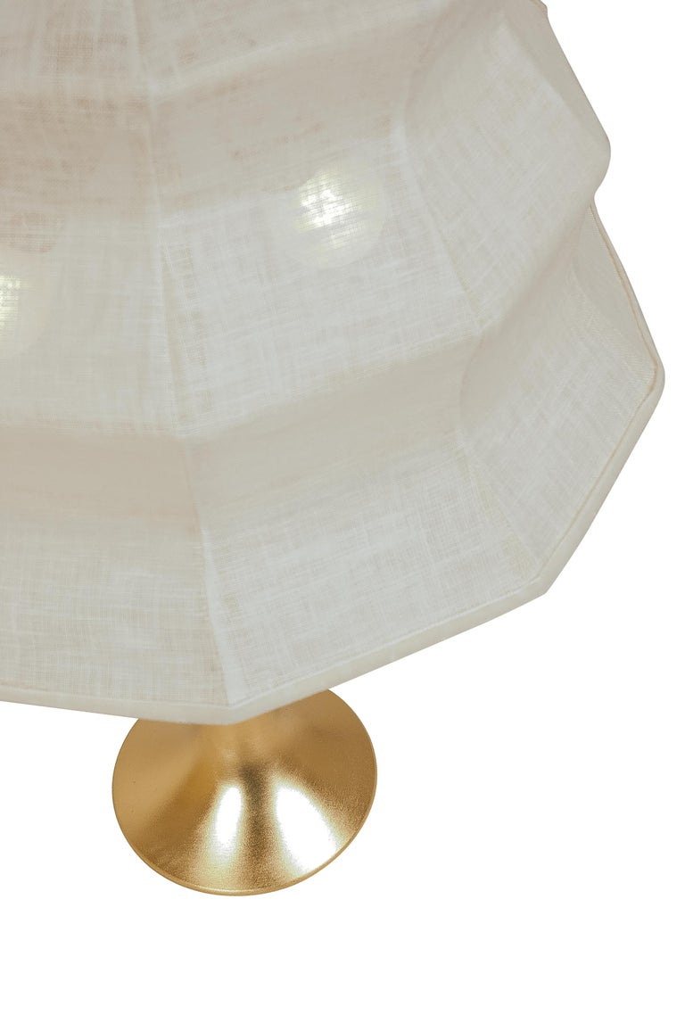 """Italian """"Pagoda"""" contemporary Table Lamp, White Linen, Silvered Crystal Tip, brass   For Sale"""