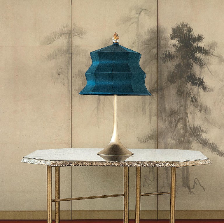 """Contemporary """"Pagoda"""" contemporary Table Lamp, White Linen, Silvered Crystal Tip, brass   For Sale"""