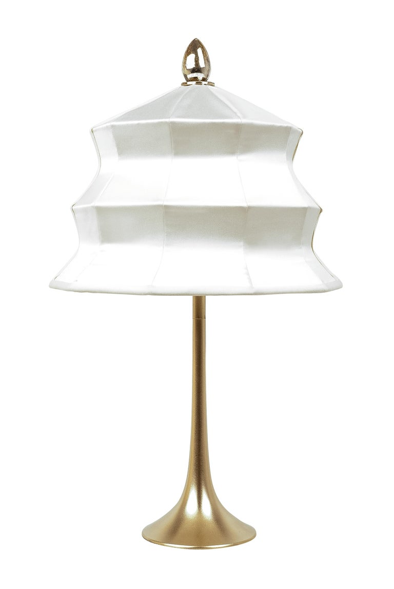 """Brass """"Pagoda"""" contemporary Table Lamp, White Linen, Silvered Crystal Tip, brass   For Sale"""