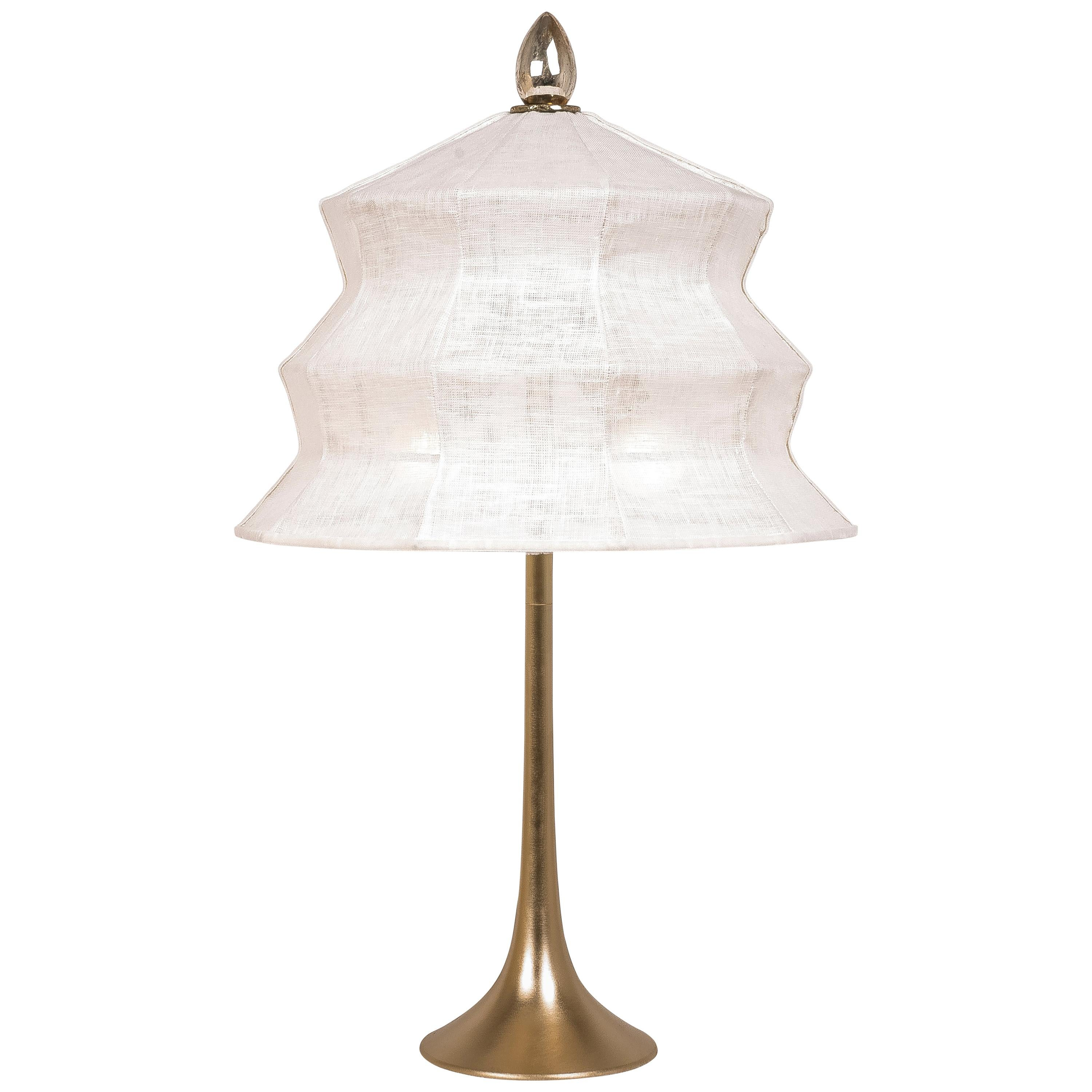 """""""Pagoda"""" contemporary Table Lamp, White Linen, Silvered Crystal Tip, brass"""