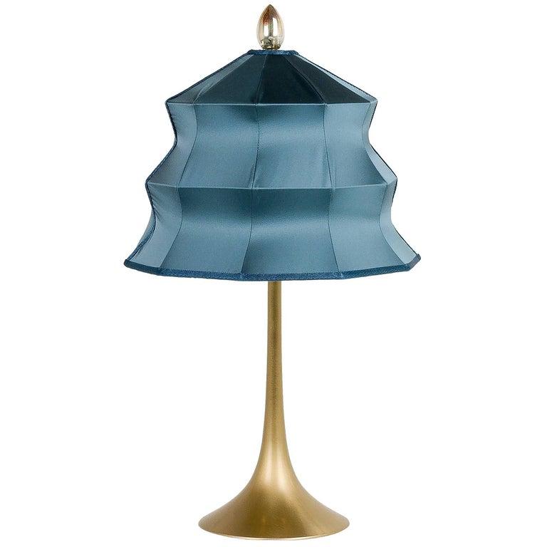 """Pagoda"" Table Lamp, in Brass Matt Finish, Sky Satin Silk, Silver Crystal Tip"