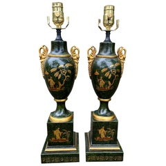 Paid of Mid-20th Century Green Tole Chinoiserie Urn Lamps with Swan Motif