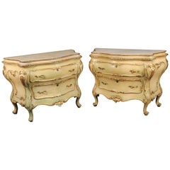 Pair Fine Large Italian Painted Marble Top Rococo Commodes Dressers 1930s Era