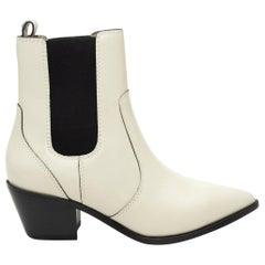Paige White Pointed-Toe Ankle Boots