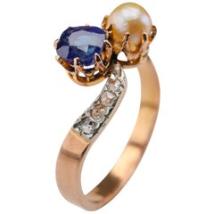Pailin Sapphire and Natural Pearl Ring Certified No Heat French Art Nouveau