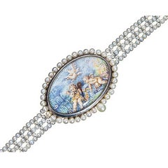 Paillet Ladies Platinum Natural Pearl Hand Painted Porcelain Wristwatch