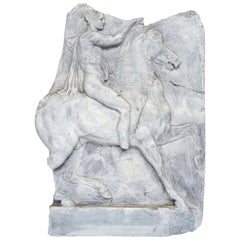 Paint and Resin Relief of an Ancient Roman on Horseback