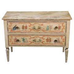 Paint Decorated Antique Italian Provincial Commode Dresser, C1880