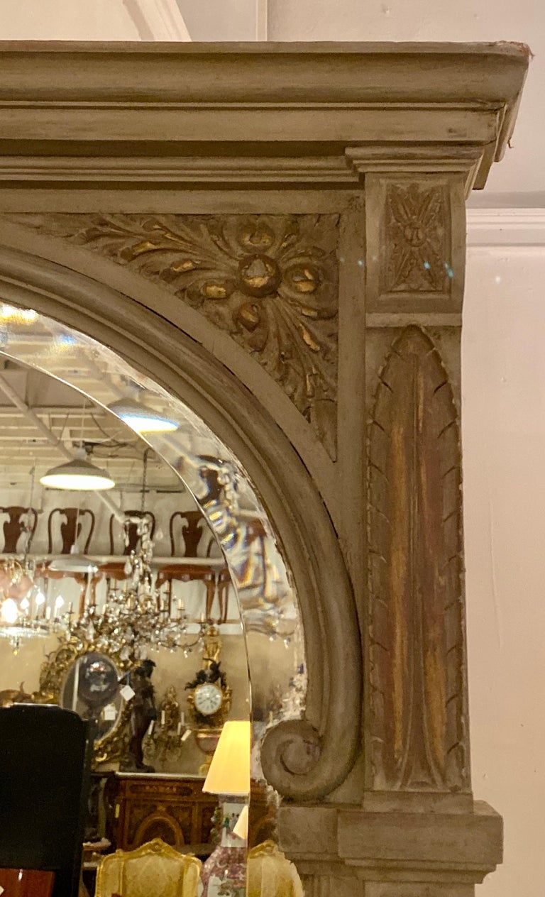 Adam Style Paint Decorated Beveled Floor or over the Mantle Mirror, Monumental For Sale
