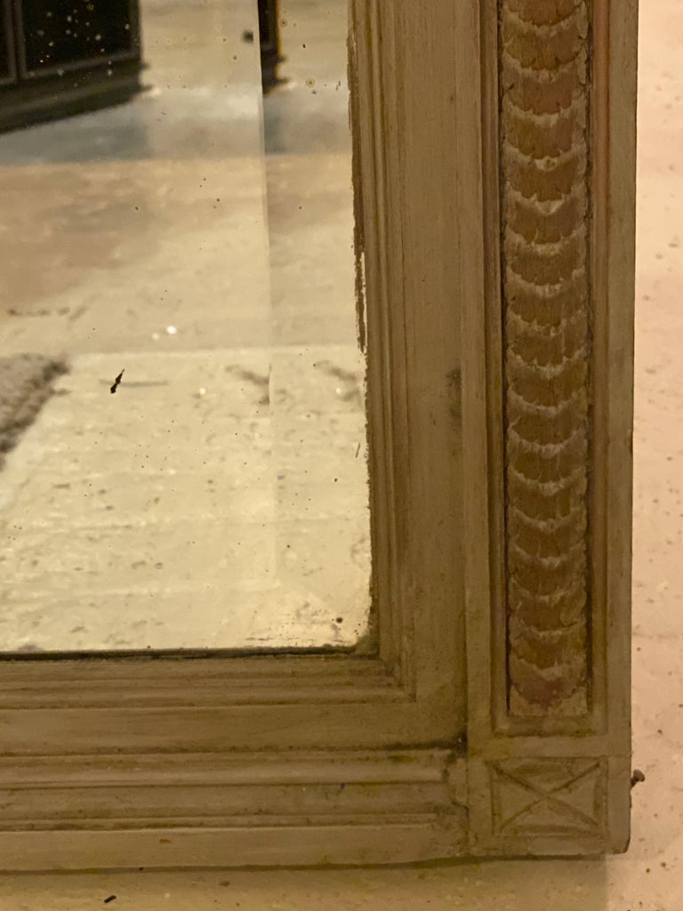 Paint Decorated Beveled Floor or over the Mantle Mirror, Monumental In Good Condition For Sale In Stamford, CT