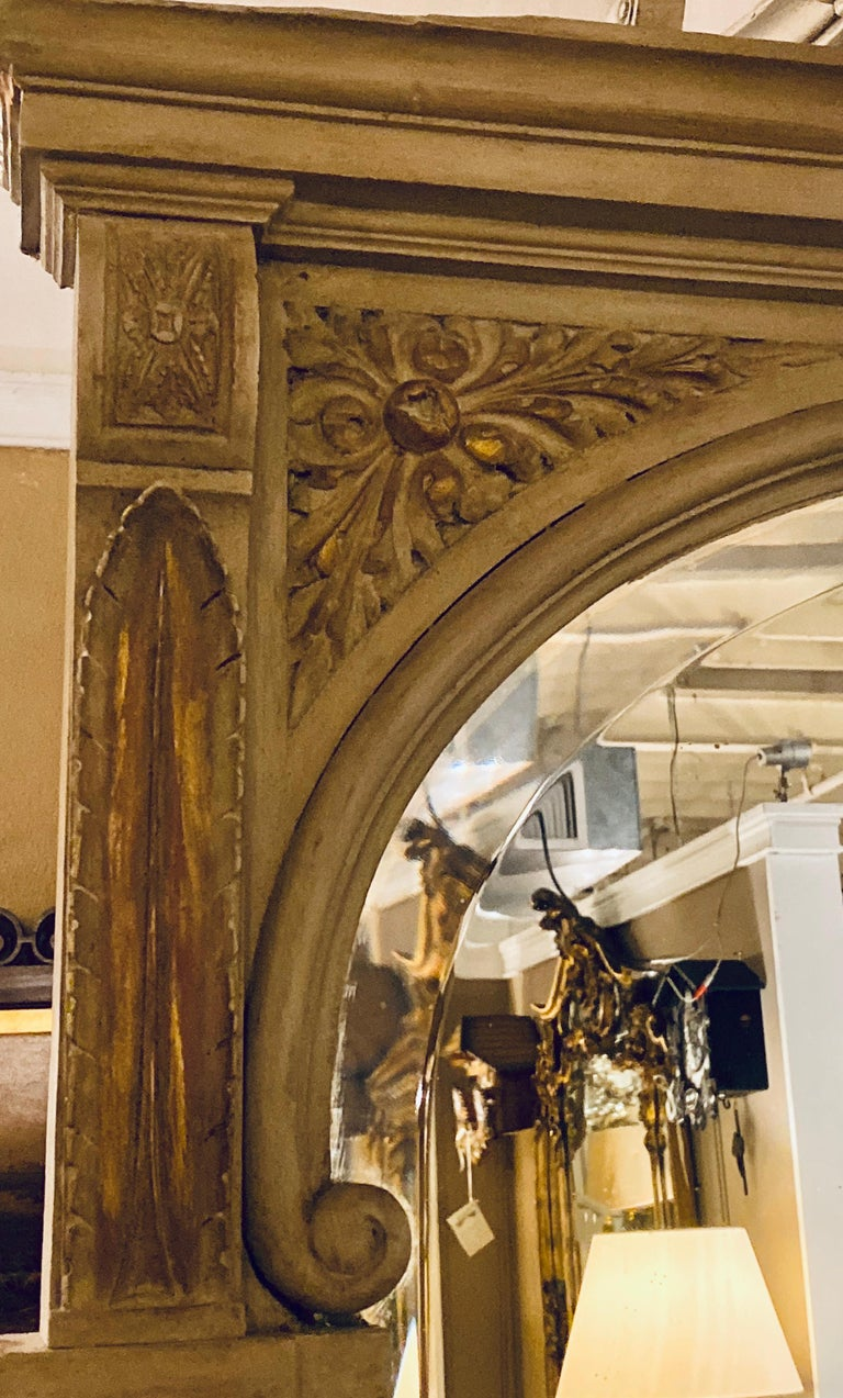 Wood Paint Decorated Beveled Floor or over the Mantle Mirror, Monumental For Sale