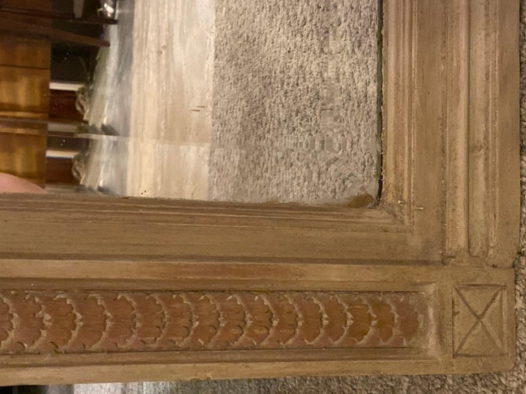 Paint Decorated Beveled Floor or over the Mantle Mirror, Monumental For Sale 2