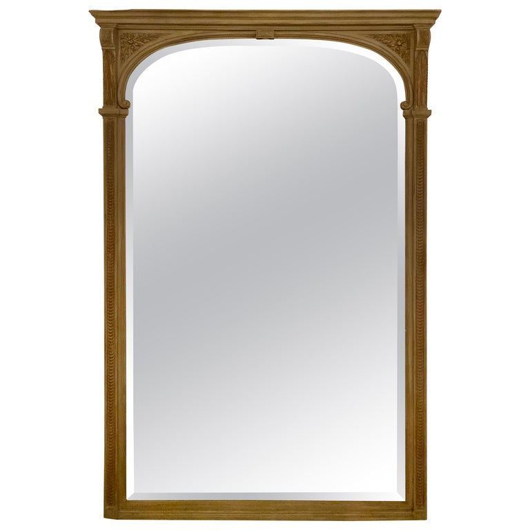 Paint Decorated Beveled Floor or over the Mantle Mirror, Monumental For Sale