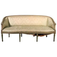 Paint Decorated Gilded French Louis XVI Style Settee Canape Sofa, Circa 1950
