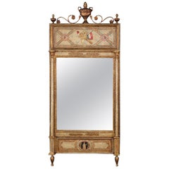 Paint Decorated Gilded Louis XVI French Mirror with French Flag and Figure