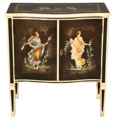 Paint Decorated Jousting Cherubs and Figural Maidens Nightstand Night Table 1950
