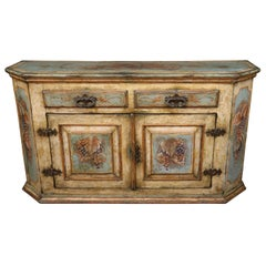 Paint Decorated Primitive Early 1900s German Dutch Sideboard Buffet Server