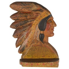 Paint-Decorated Shelf Carved in the Form of a Native American Chief