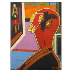 """Paint """"Homme de profil sur fond coloré"""" by Pierre Courtens"""