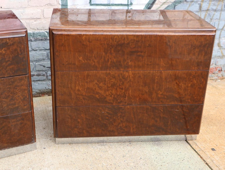 Pair of Matching Milo Baughman Burl Wood Dressers for Thayer Coggin For Sale 11