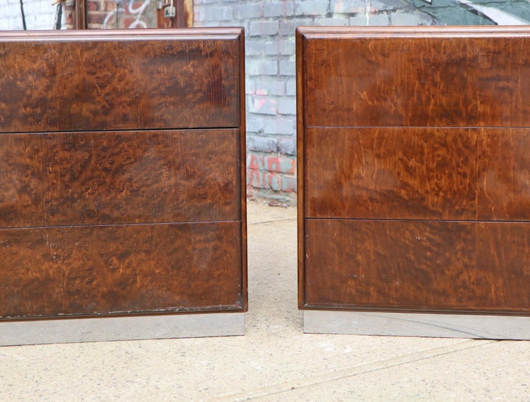 American Pair of Matching Milo Baughman Burl Wood Dressers for Thayer Coggin For Sale
