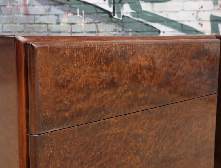 20th Century Pair of Matching Milo Baughman Burl Wood Dressers for Thayer Coggin For Sale