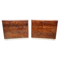 Pair of Matching Milo Baughman Burl Wood Dressers for Thayer Coggin