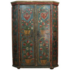 Painted 18th Century French Wedding Armoire from the Alsace