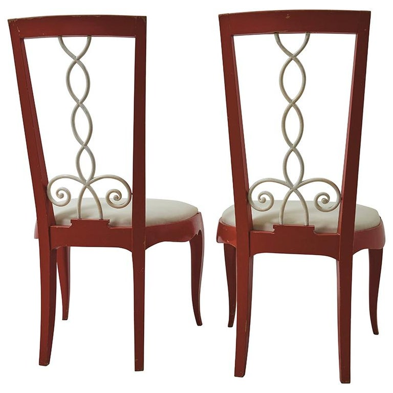 Painted 1940's French Side Chairs upholstered in Schumacher Indoor/Outdoor Vegan Leather (79552).  Since Schumacher was founded in 1889, our family-owned company has been synonymous with style, taste, and innovation. A passion for luxury and an