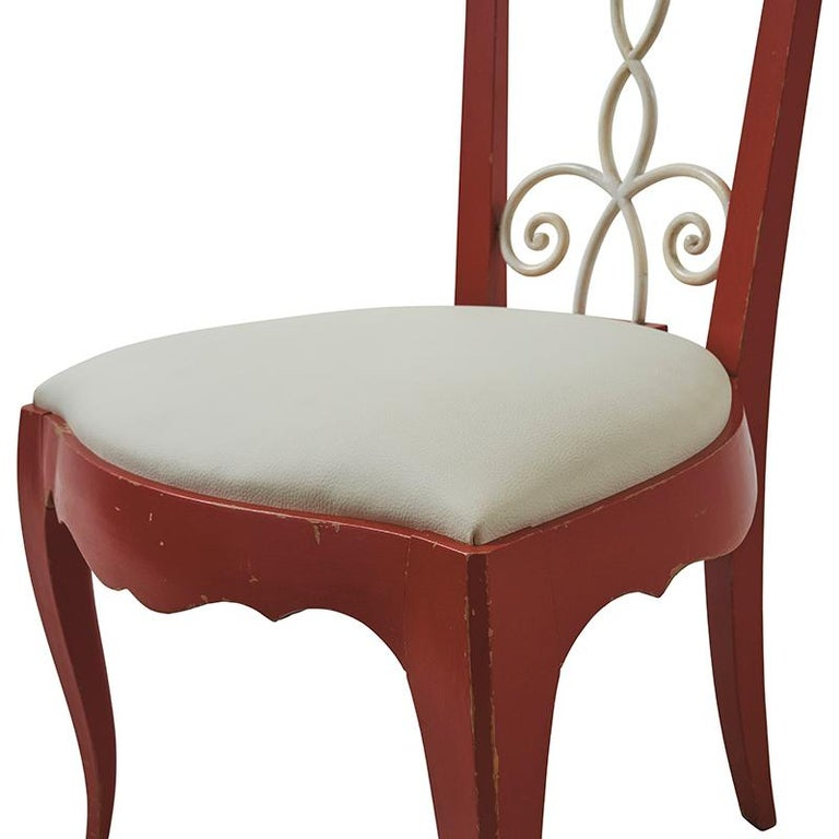 Painted 1940's French Side Chairs Upholstered in Schumacher Fabric In Good Condition For Sale In New York, NY