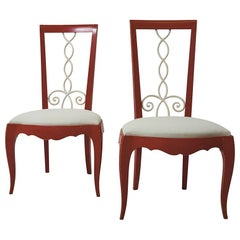Painted 1940's French Side Chairs Upholstered in Schumacher Fabric