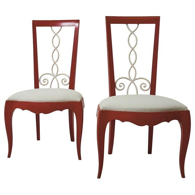 Painted 1940's French Side Chairs Upholstered in Schumacher Fabric For Sale
