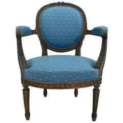 Painted 19th Century French Louis XVI Style Fauteuil Arm Chair