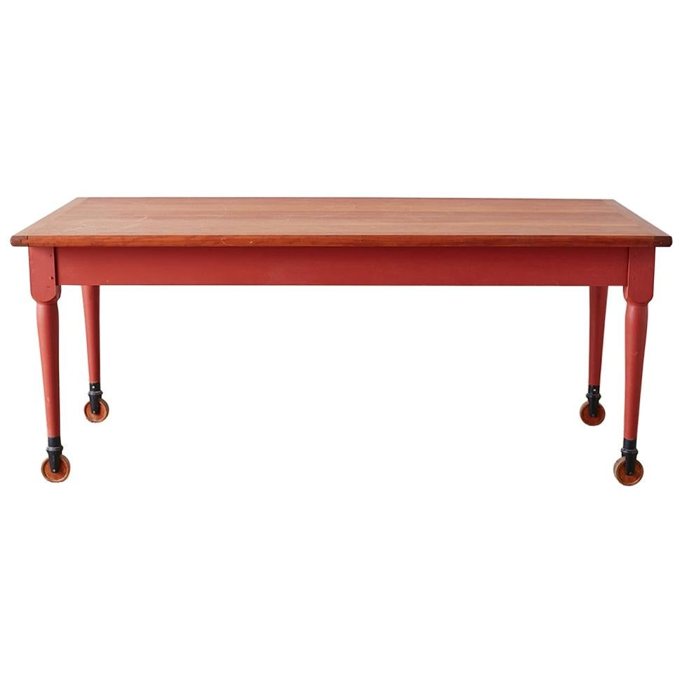 Painted American Farmhouse Style Dining Table on Casters