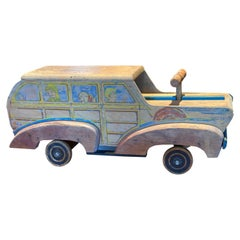 Painted and Carved Toy 'Woody' Car, circa 1930s-1940s