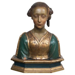 Painted and Gilded Terra Cotta Bust of a Young Woman