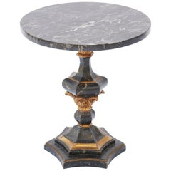 Painted and Parcel Gilt Italian Pedestal Accent Table with Marble Top