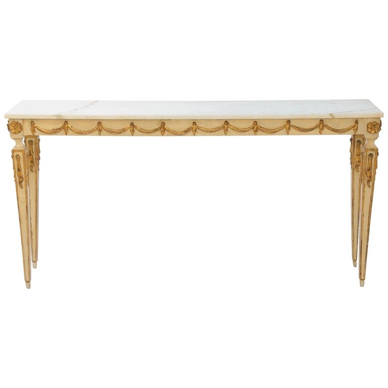 Phenomenal Painted And Parcel Gilt Narrow Italian Console With Marble Onthecornerstone Fun Painted Chair Ideas Images Onthecornerstoneorg