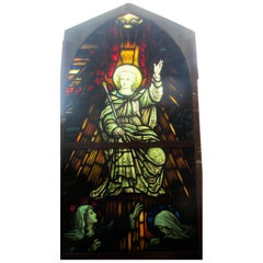 Painted and Stained Glass Window, Leaded Glass Church Window
