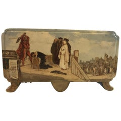 """Painted Antique French Jardiniere """"the Beheading"""" by E Gille, 1880"""
