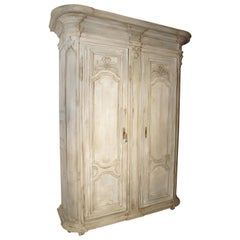 Painted Antique Oak Armoire, Ile-de-France, 19th Century