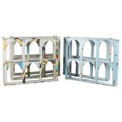 Painted Arched Hardwood Wall Shelves, 20th Century