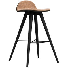 Painted Ash and Corkfabric Contemporary Counter Stool by Alexandre Caldas