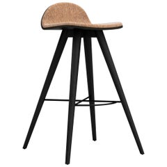 Painted Ash and Corkfabric Contemporary High Stool by Alexandre Caldas